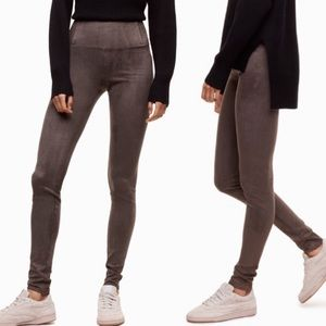 Aritzia Wilfred Free Gray Daria Suede Leggings